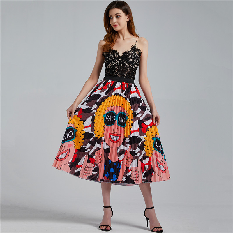 Bohemian Print Peacock Pleated Skirt For Women Vintage High Waist A-Line Elastic Beach Skirts Women Clothes Hot Sale 2020