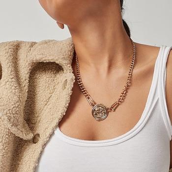 Mode Schmuck Mit Einfache Retro Persönlichkeit Mode Einzel-schicht Legierung Halskette Porträt Anhänger Halskette für Weibliche