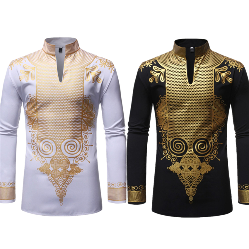 African Dresses For Men Long Sleeve Print Rich Bazin Dashiki Africa Fashion Style Hot Stamping 2019 Mens Tops Clothing