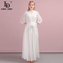 LD LINDA DELLA Autumn Women Dress Runway Fashion Designer Three Quarter Sleeve Simple Sashes Modern New A-Line Slim