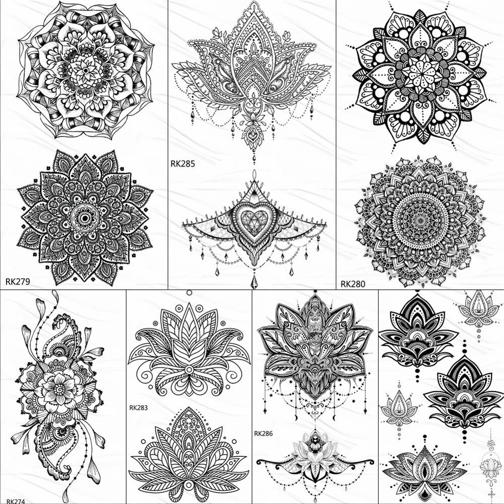 OMMGO Black Henna Arm Tattoo Mandala Flower Temporary Tattoos For Women Female Girls Sticker Fake Tattoo Mehndi Custom Tatoos