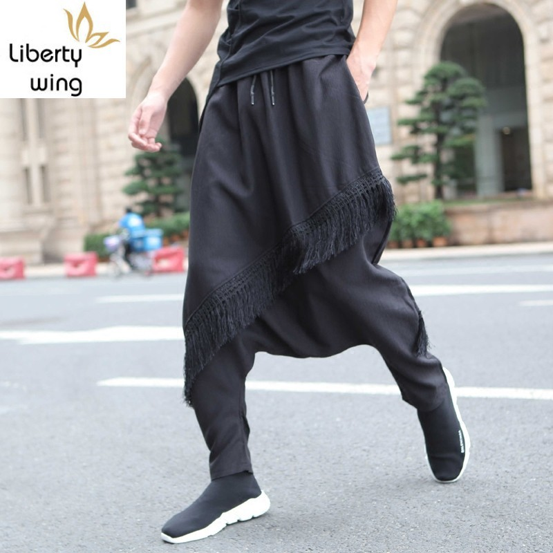 Autumn Men Harem Street Style Casual Elastic Waist Baggy Trousers Personality Tassel Black Hip Hop Loose Pencil Pants M L