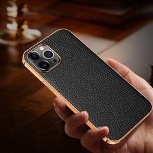 Real couro genuíno pepple capa protetora para iphone 12 pro max mini telefone 12pro luxo bonito crocodilo ultra magro capa