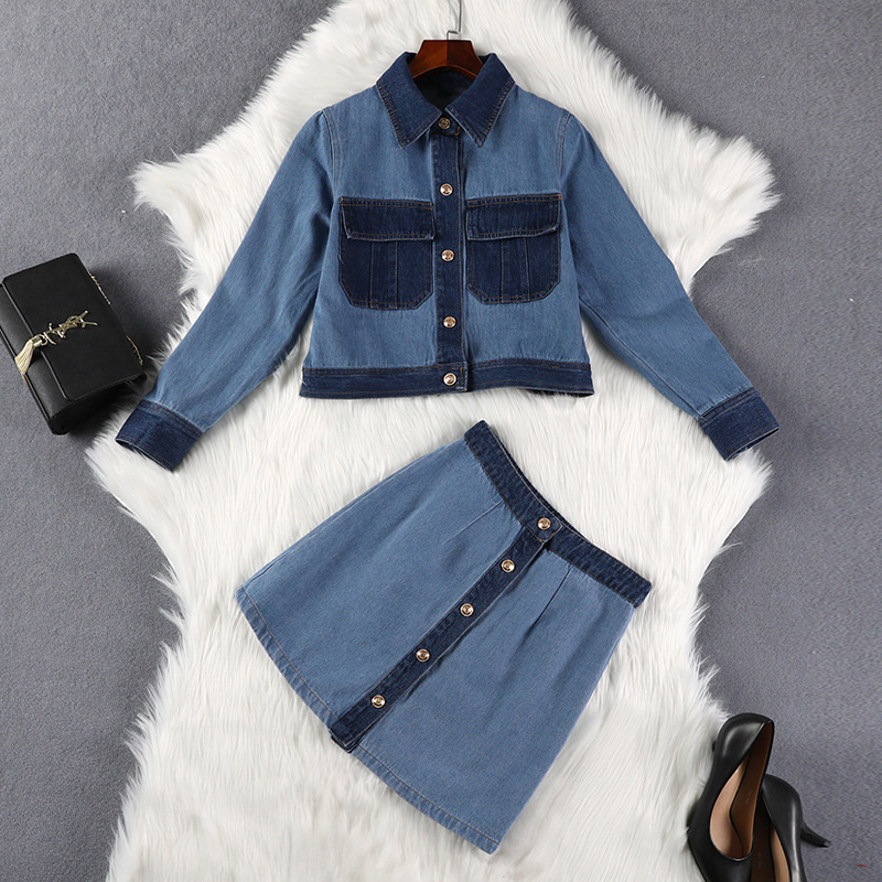 Lan Mu Square Large Size Dress Autumn Two-Piece Set Jeans Coat Chubby Sister Mm Cover Belly Slimming Set 7981