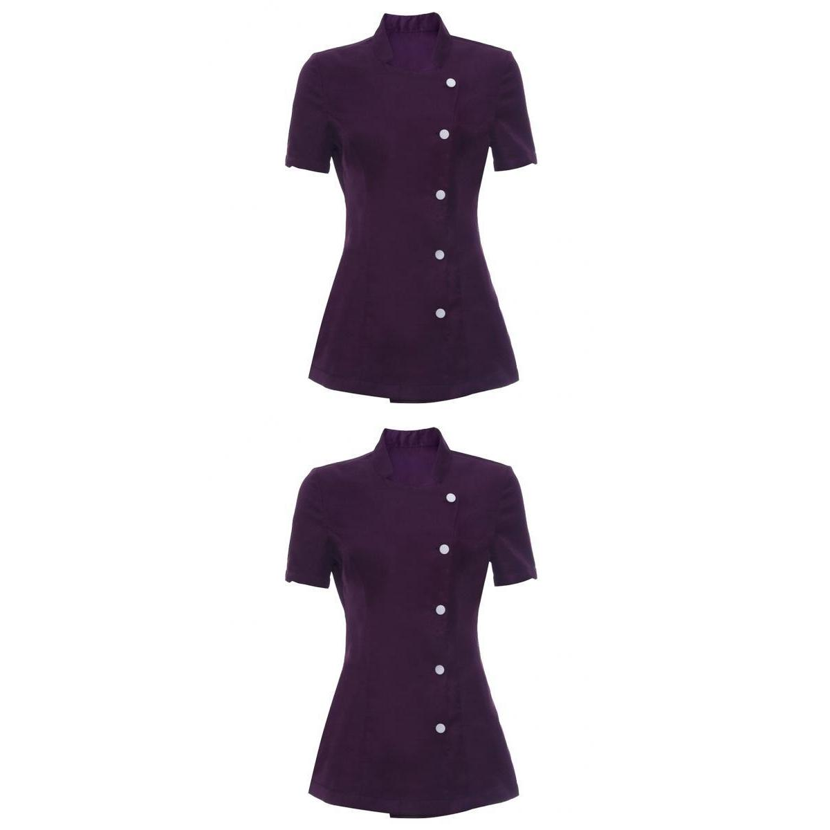 2 Pieces Salon Women Tunic Beautician Nail Spa Uniform Health Work,Purple