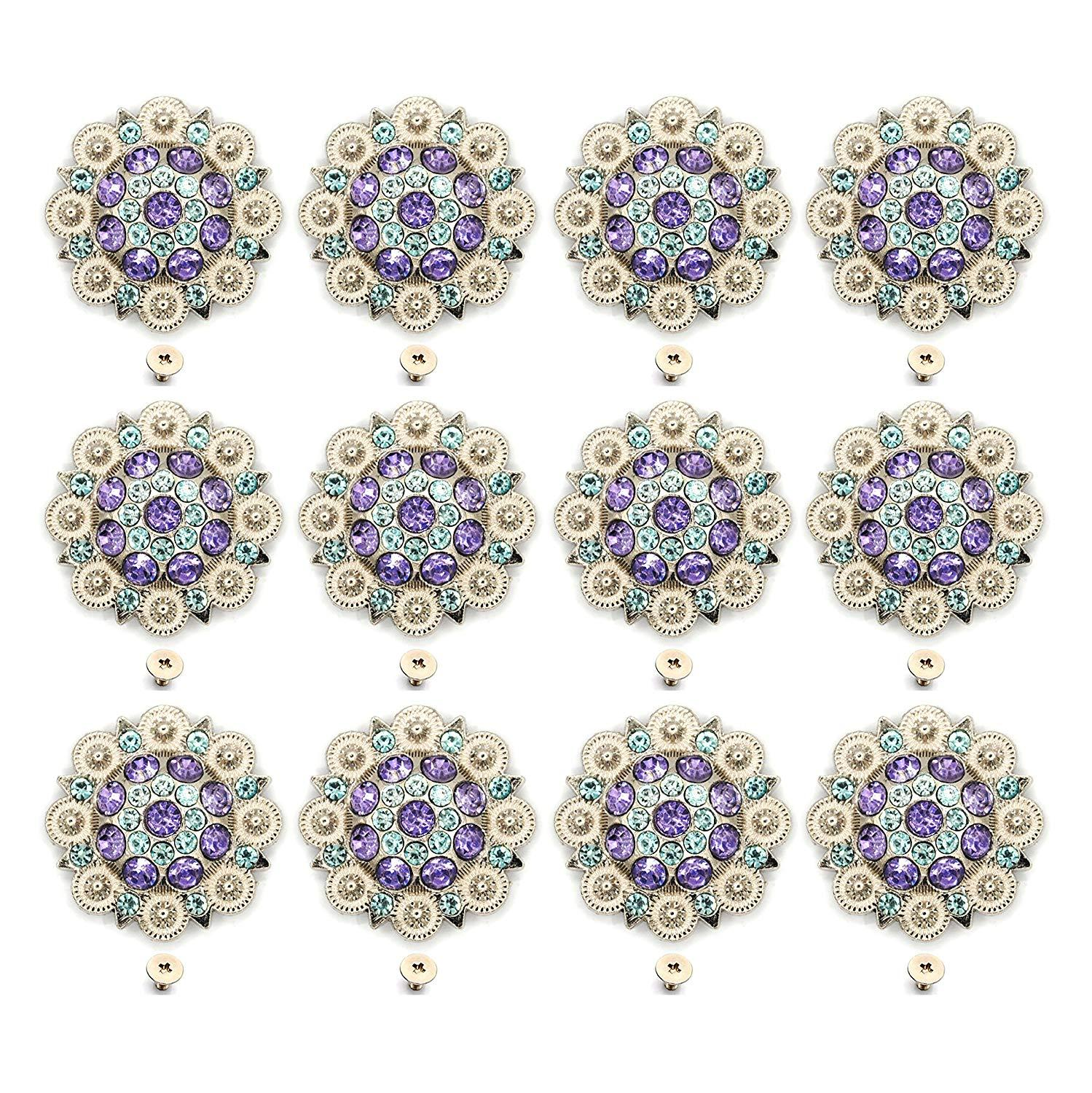 12pcs/lots Ligh Purple Diameter 3.7CM Metal Flower Conchos White Rhinestone Decoration Belt Accessories Accessories