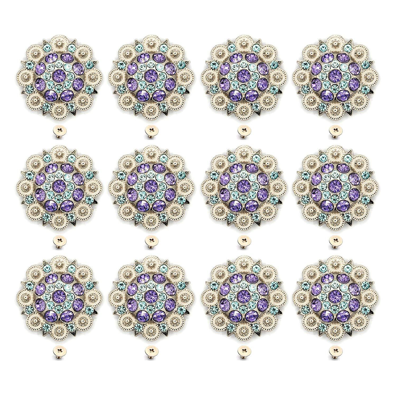 12pcs/lots Ligh Purple Diameter 3.7CM Metal Flower Conchos White Rhinestone Decoration Belt Accessories Accessories
