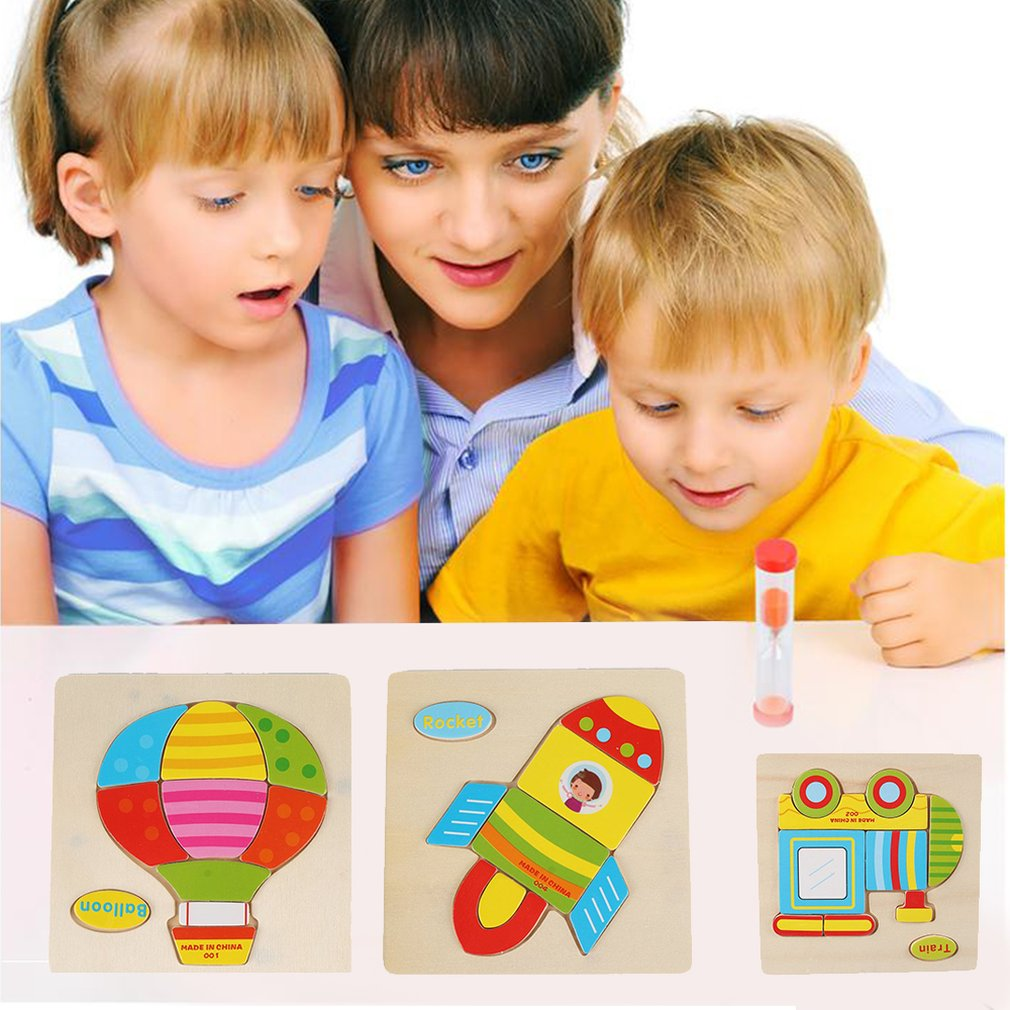 Shape Cognition Grab Board 3D Puzzle Wooden Toy for Children Cartoon Traffic Animal Wood Jigsaw Kids Baby Education Learning Toy
