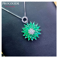 Procogem Gorgeous Natural Emerald Pendant Necklaces Fine Jewelry for Women More Genuine green gemstones 925 Sterling Silver #721