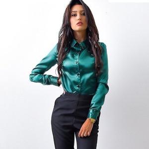 Blusa Women Blouse Elegant Wine red Green Satin Shirt Turn Down Collar Longth Sleeve Female Formal Office OL Blouse Women Tops