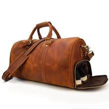 Versatile 50cm Large Capacity Luggage Bag Duffel Bag Overnight Bag Luggage Organizer for Men Travel Bags Travel Backpack cheap Genuine Leather Cow Leather zipper Travel Duffle HARD vintage Solid