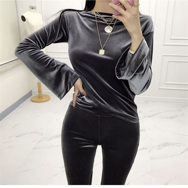 2019 Spring New Products Korean-style Comfortable Gold Velvet Piece Solid Color Slimming Sexy Tops La Pants Leisure Suit