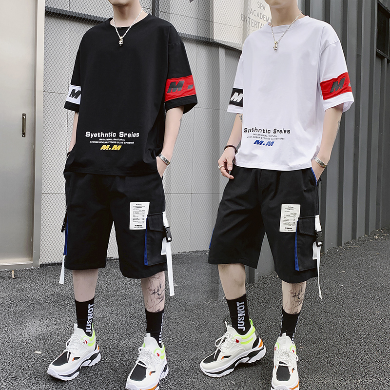 YASUGUOJI New Summer Mens Short Sets Fashion Set Of Clothes For A Man Loose T-shirt With Cargo Shorts Two Piece Sets Men