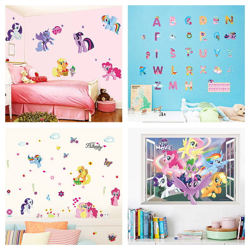 Cartoon My Little Pony Unicorn Wall Stickers For Home Decoration Diy Girls Decals Kids Room Wall Mural Art 3d Anime Posters