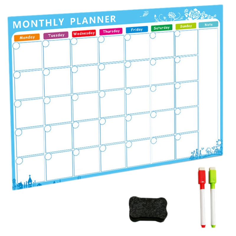 Magnetic Whiteboard Dry Erase Board Magnets Fridge Refrigerator To-Do List Monthly Daily Planner