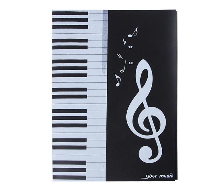 Music Piano Sheet Note A4 File Holder Folder 6 Pages Open For Revise Student Music Staff Musician Song Writer Artist