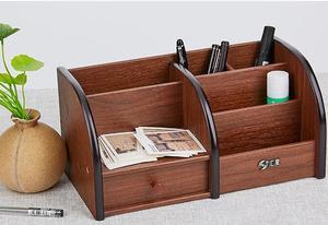 Image 4 - 多機能木製収納ボックスデスクトップオーガナイザーリモコンホルダー文具ペンホルダー化粧箱オフィス用品