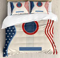 Music Duvet Cover Set Country Music Festival Event Illustration Guitar with American Flag Design Print Decorative 3 Piece Bed