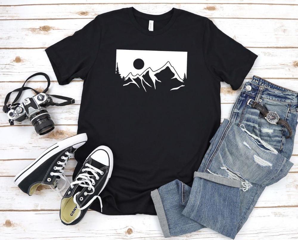 Nature Mountains Print Women Tshirt Cotton Casual Funny T Shirt Gift 90s Lady Yong Girl Drop Ship S-867