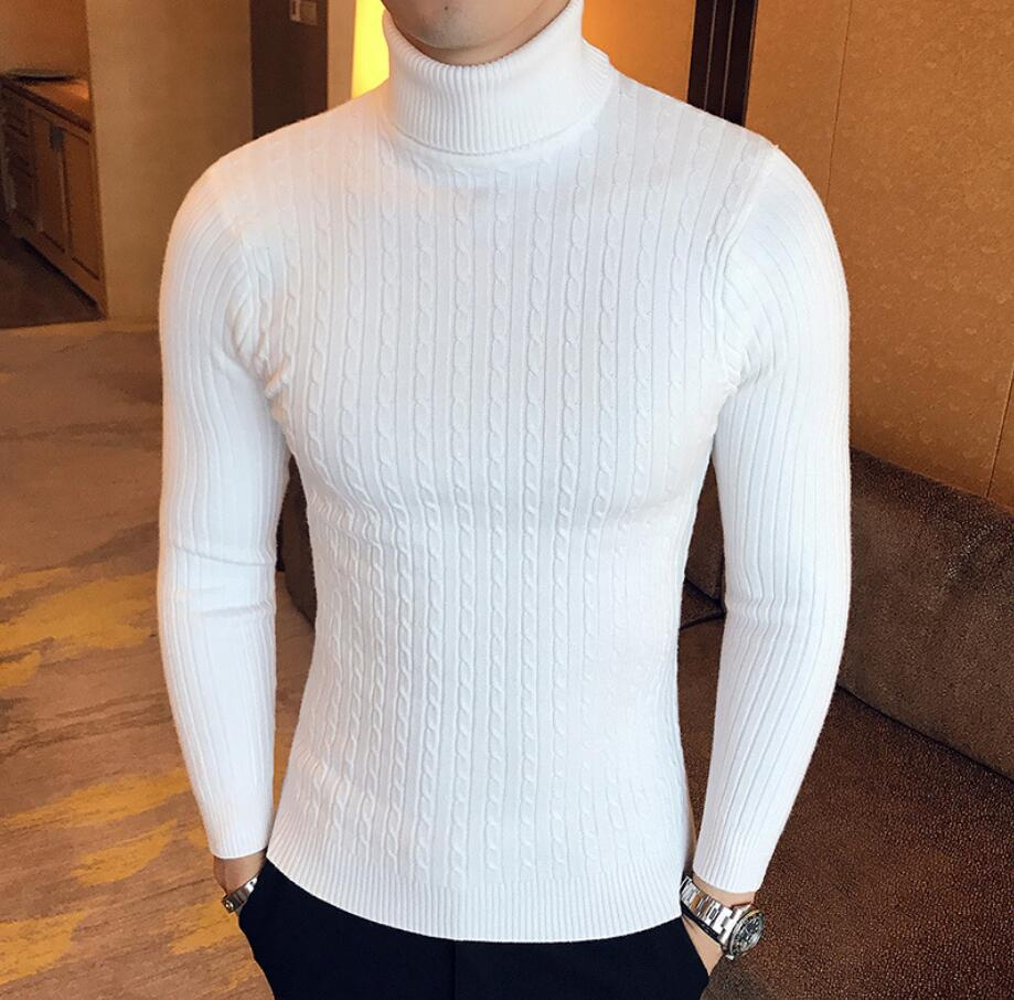 2019 Men's Autumn And Winter Solid Color Fashion Twist Knit Turtleneck Sweater Bottoming Shirt Men's Sweater