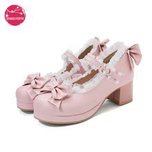 Женская милая обувь туфли в Стиле Лолита с оборками бантом кружевом