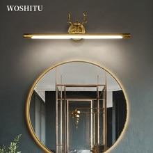 Luz LED moderna para espejos de baño, decoración de pared, iluminación interior, armario de tocador de maquillaje, astas negras/doradas