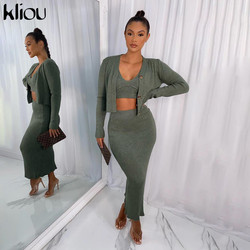 Kliou Ribbed Knitted Cardigan Camisole Maxi Dress Three Piece Set Women Crop Top Side Slit Long Skirt Solid Slim Autumn Outfit