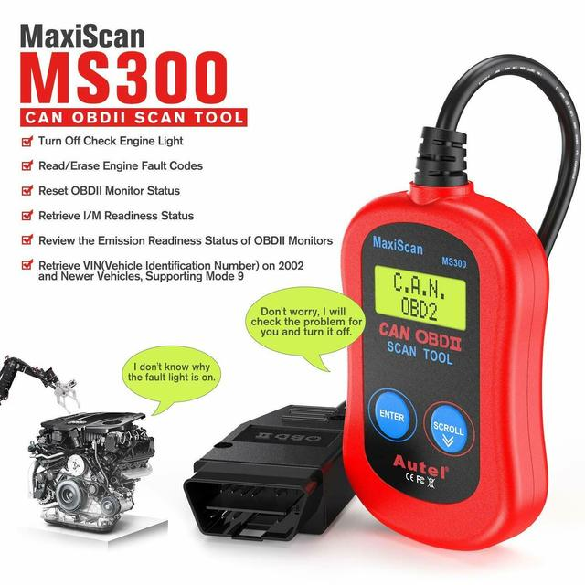 Autel MaxiScan MS300 OBD2 kod skanera czytnik wyłączyć Check Engine światła Smog Check