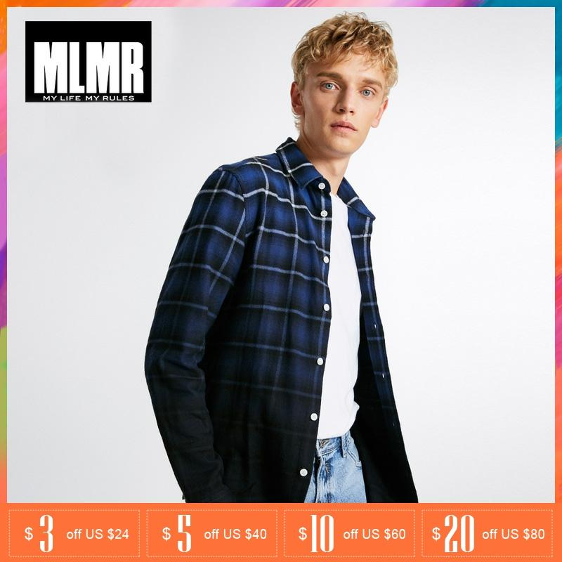 MLMR Men Fashion Cotton Straight Gradient Plaid Washing Long-sleeved Shirt |218305568