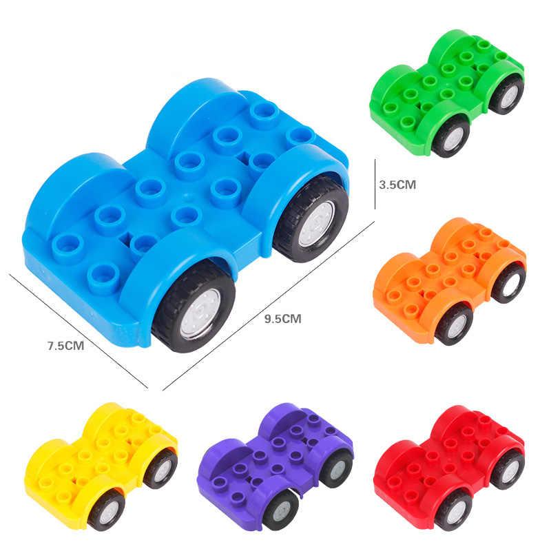 متوافق Legoed Duploed كبيرة الحجم الطوب الأطفال ألعاب مكعبات البناء سيارة الطائرات الهندسة شاحنة جرار نماذج اللعب الهدايا