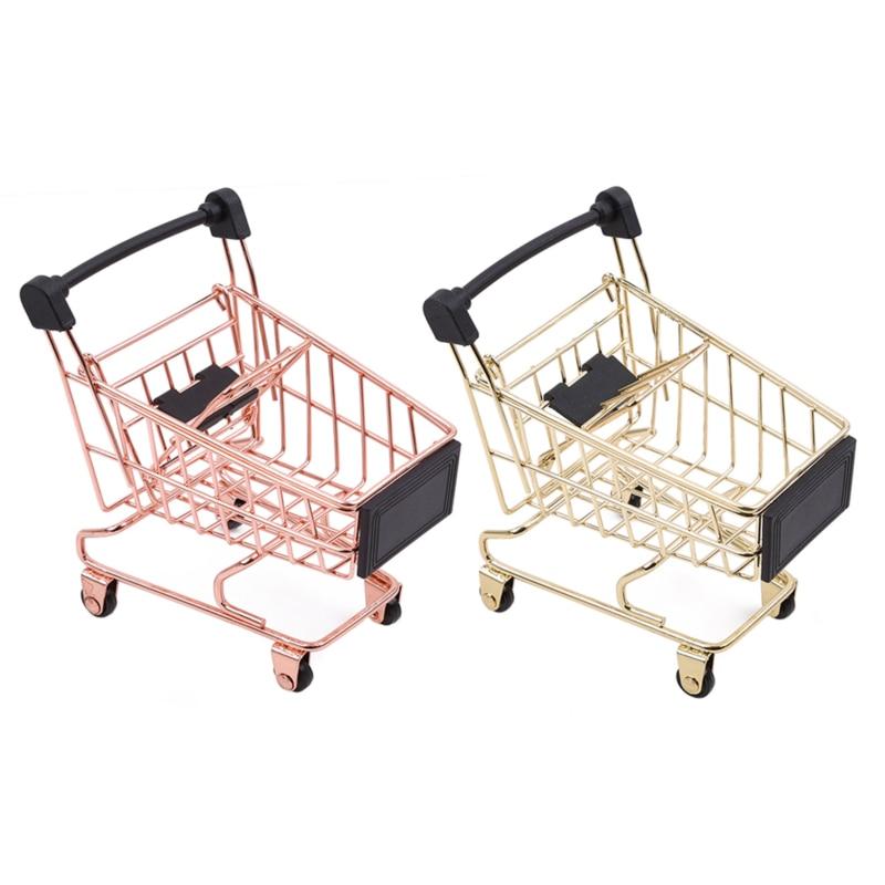 Creative Storage Basket Simulation Mini Shopping Cart Supermarket Trolley Debris Storage Boxs Mini Supermarket Handcart Toy