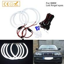 Auto styling 1 SET (2X 146mm + 2X 131mm) weiß Halo Baumwolle Licht auto smd LED Angel eyes für BMW E46 nicht projektor auto beleuchtung
