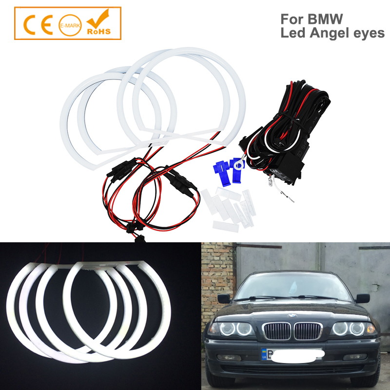 Car-styling 1 SET (2X 146mm+2X 131 mm )White Halo Cotton Light car smd LED Angel eyes for BMW E46 non projector auto lighting(China)
