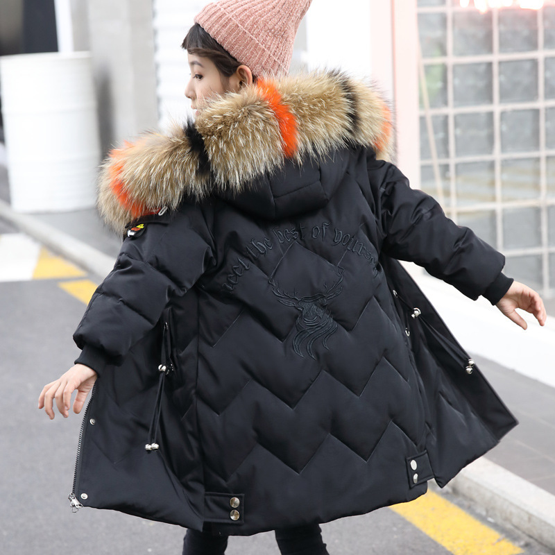 Image 3 - Winter Down Jacket for Girls Clothes parka real Fur Hooded Russian Winter Coat 2019 New Children Outerwear Long Teenage clothing-in Down & Parkas from Mother & Kids
