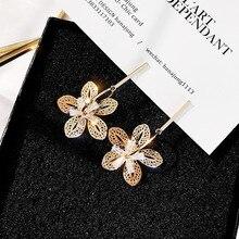 2019 new earrings Korean Flower For Women Fashion Vintage Copper Dangle gold Color Jewelry Metal Geometric Earring