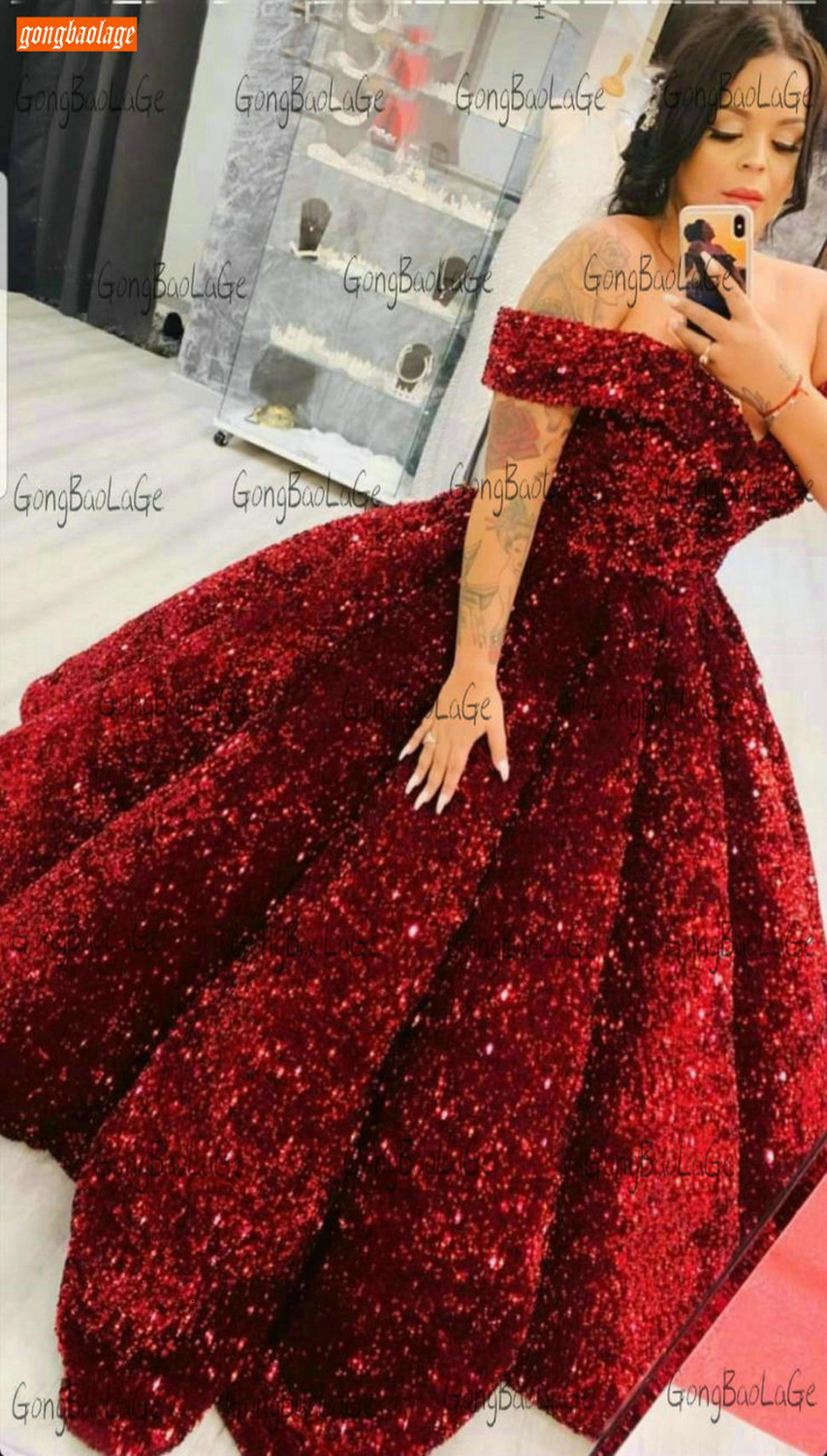 Sparkly Burgundy Evening Dress Long 2020 Off Shoulder Sequin Lace Up Ball Gown Formal Dresses Reflective Pageant Evening Gowns 3