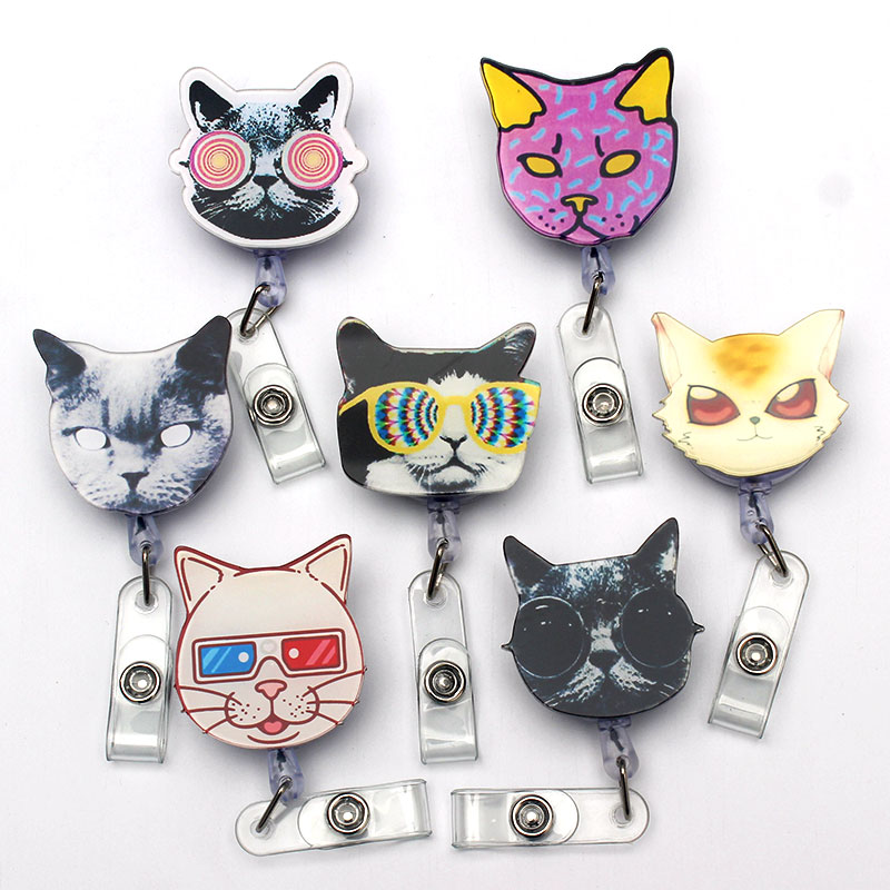 Distinctive Cute Pretty Cats Retractable Plastic Badge Reel Holder Student Nurse Exhibition Enfermera Girls Name Card Chest Card