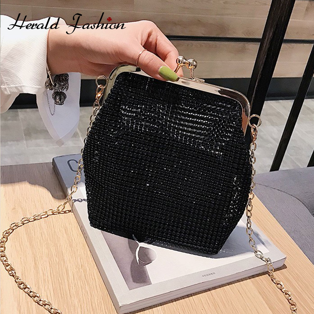 Herald Fashion Women Diamonds Beaded Metal Evening Bags Chain Female Shoulder Bag Small Ladies' Messenger Crossbody Bag Sac