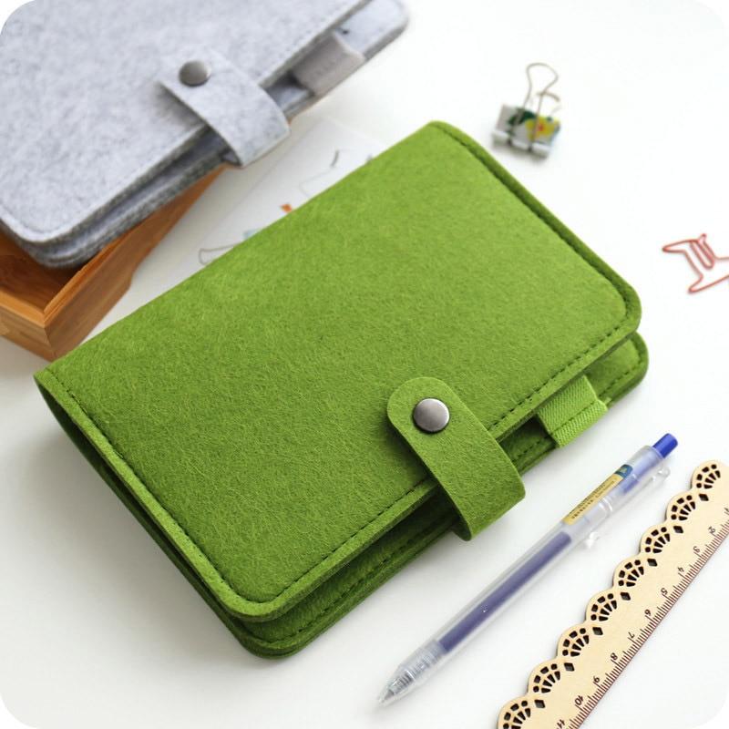 JIANWU A5 A6 Simple Snap Felt Fabric Notebook Diary Creative Binder  Office Supplies  Ring Binder