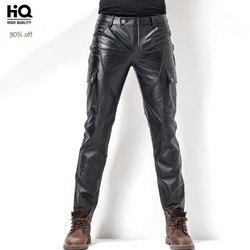 Euro Brand New Mens Moto Pelle Bovina Pieno Tasche Dei Pantaloni di Lunghezza Sottile del Cuoio Genuino di Moda Antivento Maschio Pantaloni Della Matita