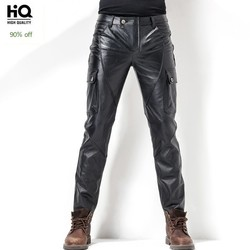 Euro Brand New Motorcycle Mens Cowhide Full Length Trousers Slim Pockets Genuine Leather Windproof Fashion Male Pencil Pants