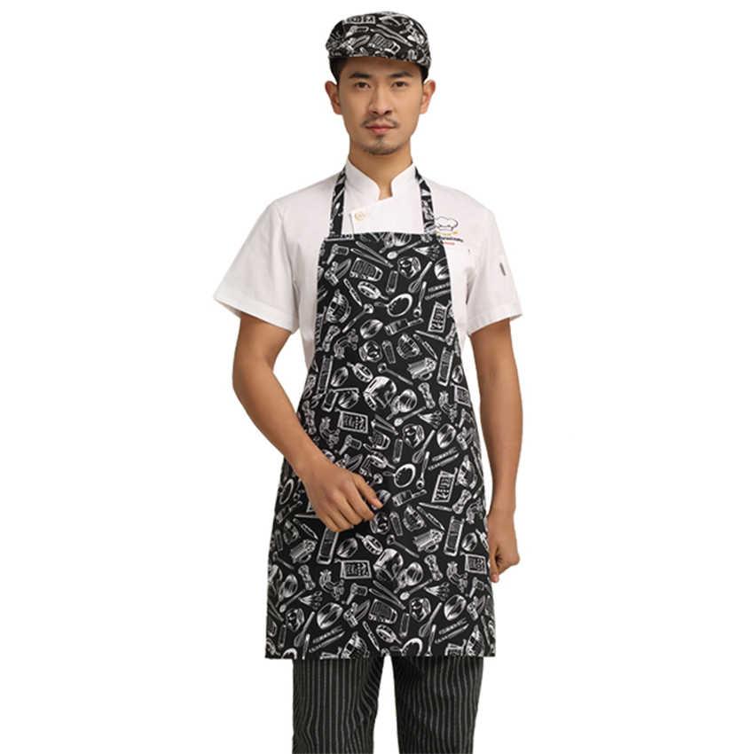 6 צבע שף אחיד סינר מטבח בגדי מלצרית לבשל ללבוש תליית צוואר ארוך סינר שף תלבושות לעבוד גברים מזון שירות