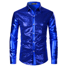 Luxury Royal Blue Sequin Metallic Dress Shirts Men 2019 New Long Sleeve 70's Disco Party Shirt Male Christmas Halloween Costume(China)