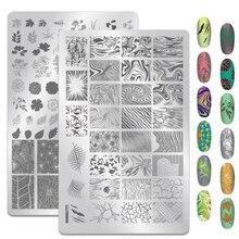 1PCS ขนาดใหญ่เรขาคณิตคลื่น Nail Art Stamping แผ่น Fowers ภาพเจลเล็บแม่แบบเล็บแสตมป์เครื่องมือ