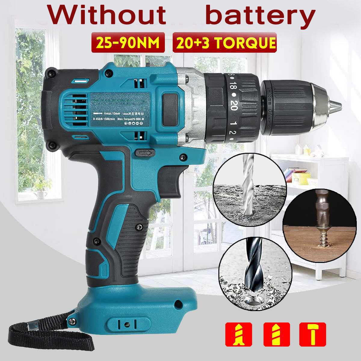 For Makita 18V 90N.m Electric Cordless Drill Hammer Screwdriver 3-In-1 1500 RPM Power Tools Brushless Cordless Impact Drill
