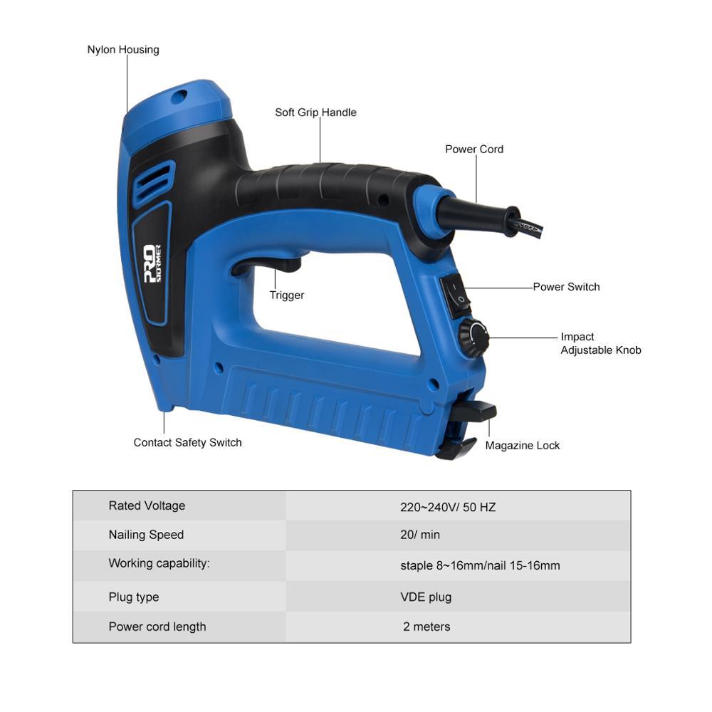 Power Furniture Tacker Staple Tools Gun Gun PROSTORMER Electric Electric 220V Nail 2000W Stapler Woodworking Nailer By 240V
