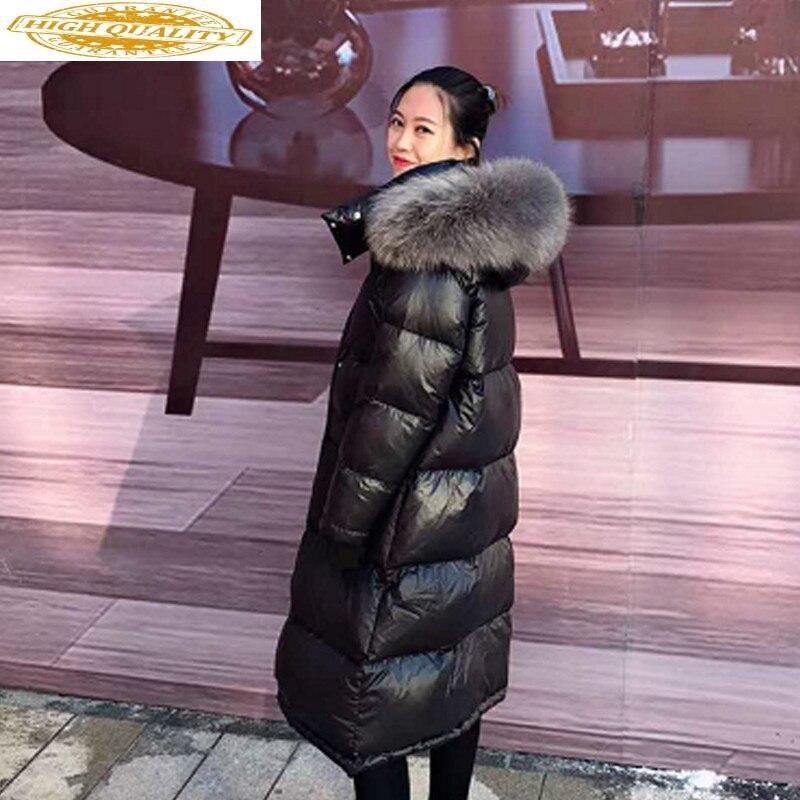 Winter Coat Women White Duck Down Coat Raccoon Fur Collar Hooded Women Jacket Korean Puffer Jacket Casaco YY1340