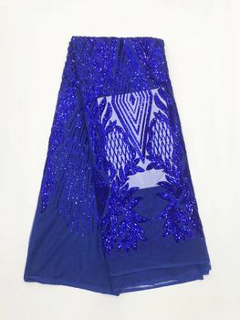 Newest African Lace Fabric With Sequins Blue Color High Quality Nigeria Mesh Tulle Lace Fabric For Party Dress    JLN128