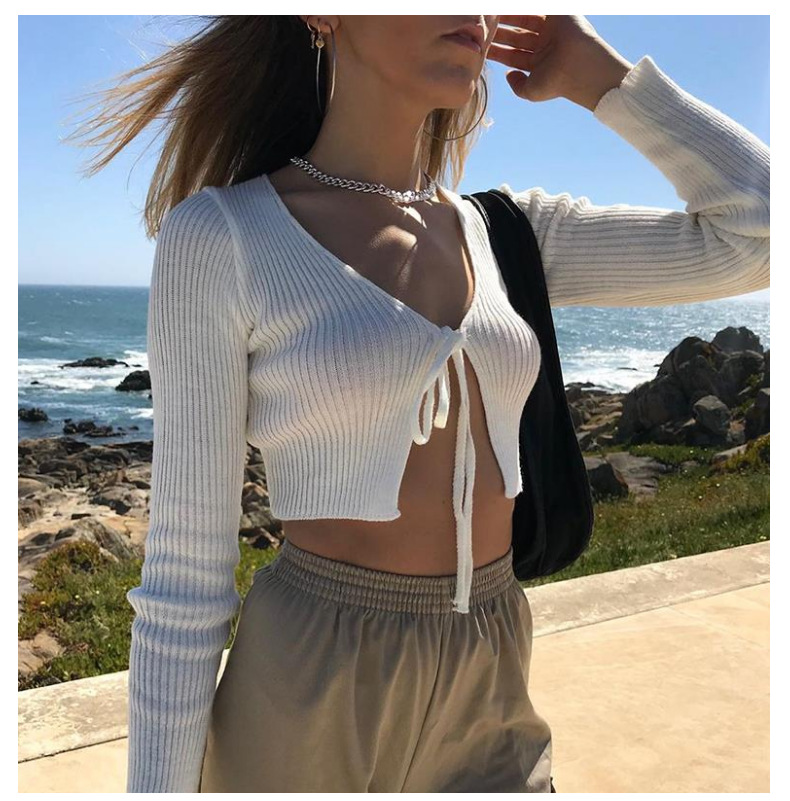 Women Knitted Crop Tops Lace-Up Bow Cardigans Open Long Sleeve Sweaters