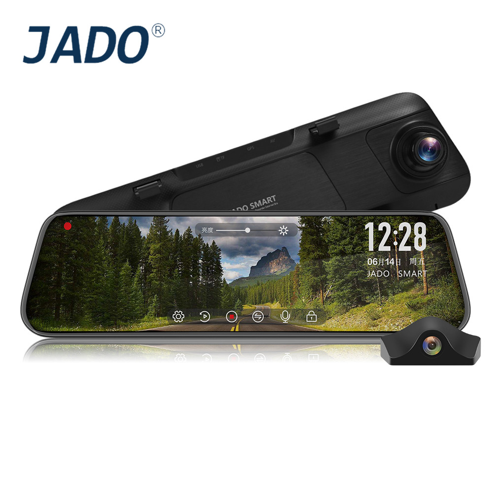JADO Drive-Recorder Rearview-Mirror Car-Dvr-Camera Dash-Cam Touch-Screen Starlight ADAS